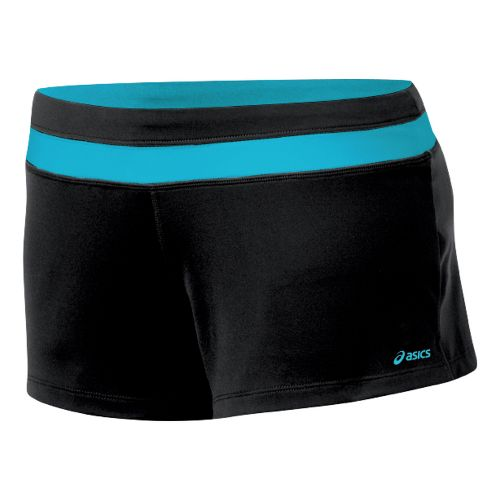 Womens ASICS Abby Loose Fit Short Fitted Shorts - Black/Aqua L