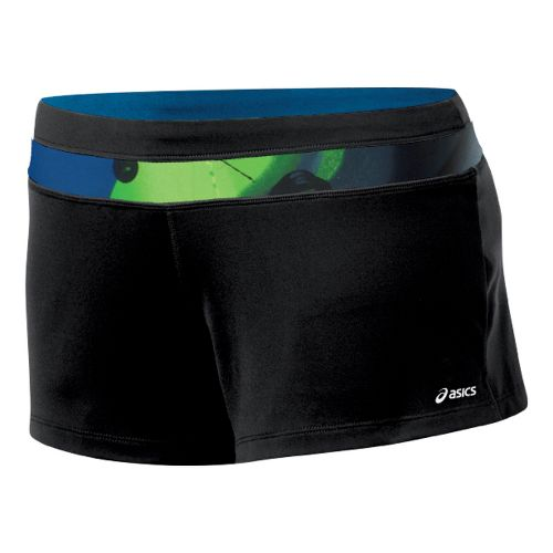 Womens ASICS Abby Loose Fit Short Fitted Shorts - Black/Green XL