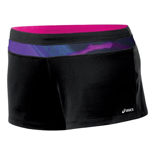 Womens ASICS Abby Loose Fit Short Fitted Shorts - Black/Jewel XS