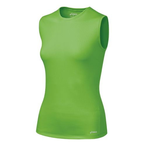 Womens ASICS Core Tank Tanks Technical Tops - Greenery S
