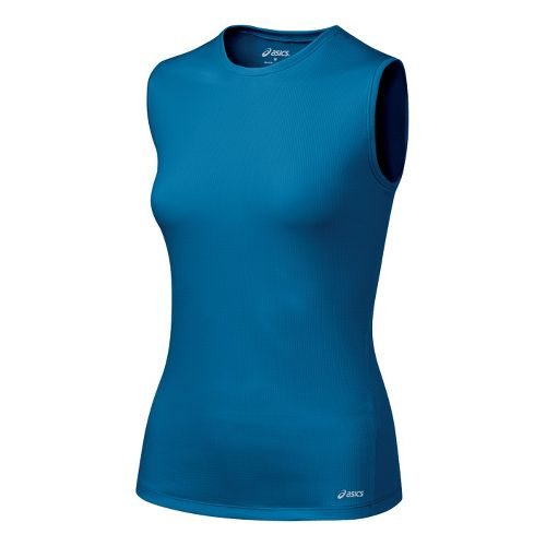 Womens ASICS Core Tank Tanks Technical Tops - Peacock S
