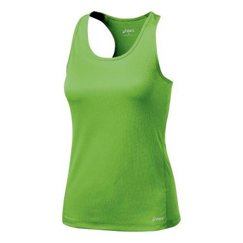 Womens ASICS Core Shimmel Tanks Technical Tops - Greenery M
