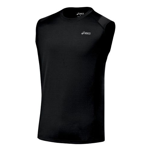 Mens ASICS Favorite Sleeveless Sleeveless Technical Tops - Black XL