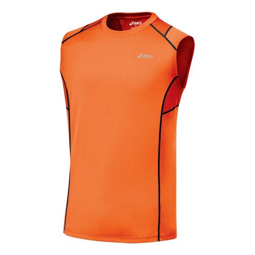 Mens ASICS Favorite Sleeveless Sleeveless Technical Tops - Blaze/Iron M