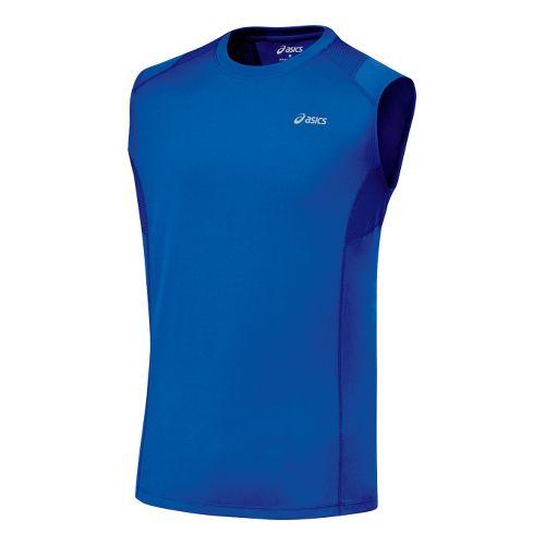 Mens ASICS Favorite Sleeveless Sleeveless Technical Tops - Fresh Blue S