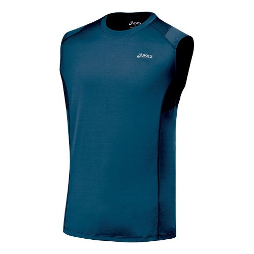 Mens ASICS Favorite Sleeveless Sleeveless Technical Tops - Midnight XXL