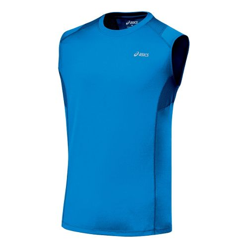 Mens ASICS Favorite Sleeveless Sleeveless Technical Tops - Pacific Blue XXL
