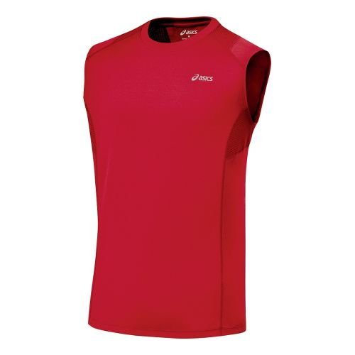 Mens ASICS Favorite Sleeveless Sleeveless Technical Tops - Sport Red XL