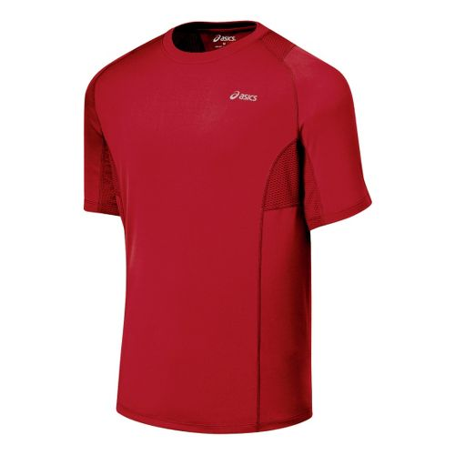 Mens ASICS Favorite Short Sleeve Short Sleeve Technical Tops - Brick XL