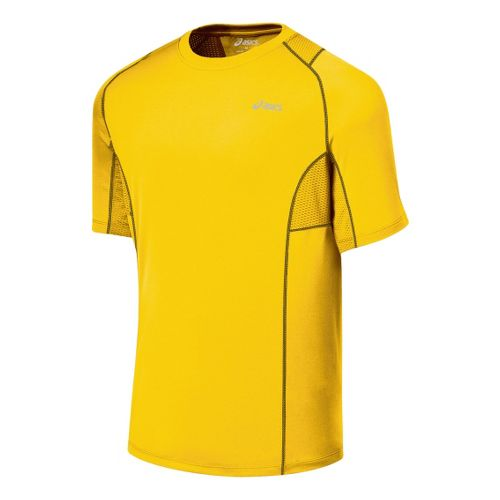 Mens ASICS Favorite Short Sleeve Short Sleeve Technical Tops - Bronze/Iron M