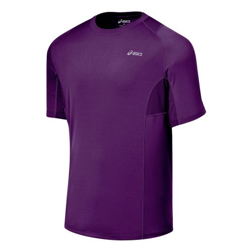 Mens ASICS Favorite Short Sleeve Short Sleeve Technical Tops - Grape XXL