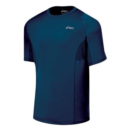 Mens ASICS Favorite Short Sleeve Short Sleeve Technical Tops - Midnight XL