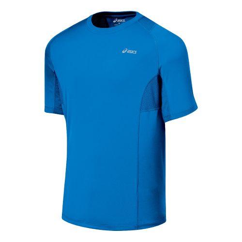 Mens ASICS Favorite Short Sleeve Short Sleeve Technical Tops - Pacific Blue XL