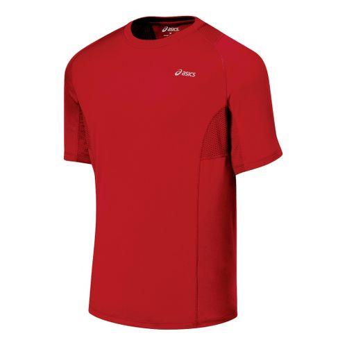 Mens ASICS Favorite Short Sleeve Short Sleeve Technical Tops - Sport Red L