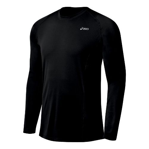 Mens ASICS Favorite Long Sleeve Long Sleeve No Zip Technical Tops - Black L