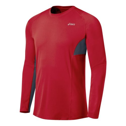 Mens ASICS Favorite Long Sleeve Long Sleeve No Zip Technical Tops - Brick/Iron M