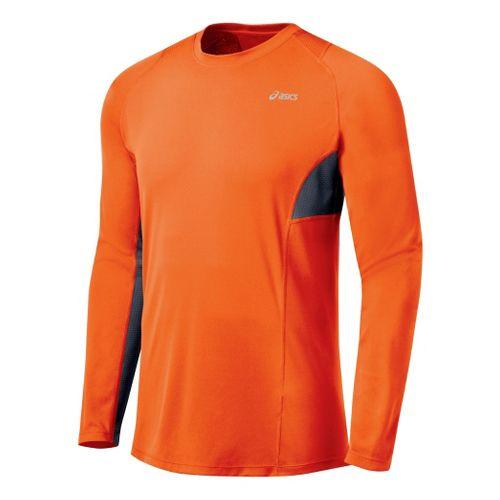 Mens ASICS Favorite Long Sleeve Long Sleeve No Zip Technical Tops - Blaze/Iron L