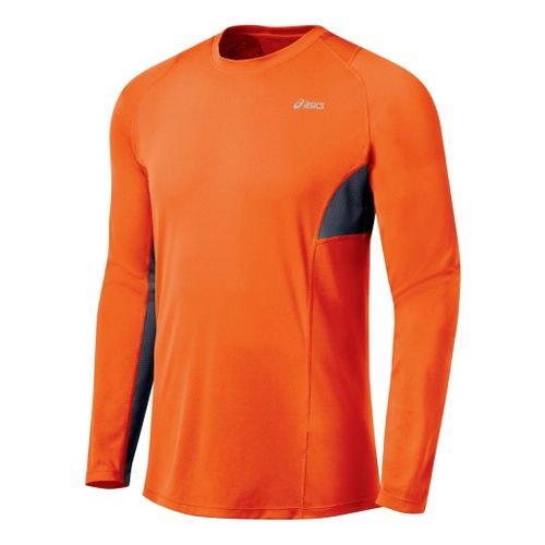 Mens ASICS Favorite Long Sleeve Long Sleeve No Zip Technical Tops - Blaze/Iron XXL