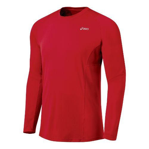 Mens ASICS Favorite Long Sleeve Long Sleeve No Zip Technical Tops - Sport Red XL ...