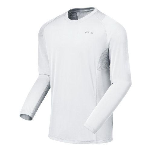 Mens ASICS Favorite Long Sleeve Long Sleeve No Zip Technical Tops - White XL
