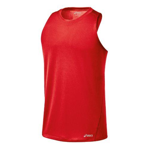 Mens ASICS Core Singlets Technical Tops - Red Heat XL