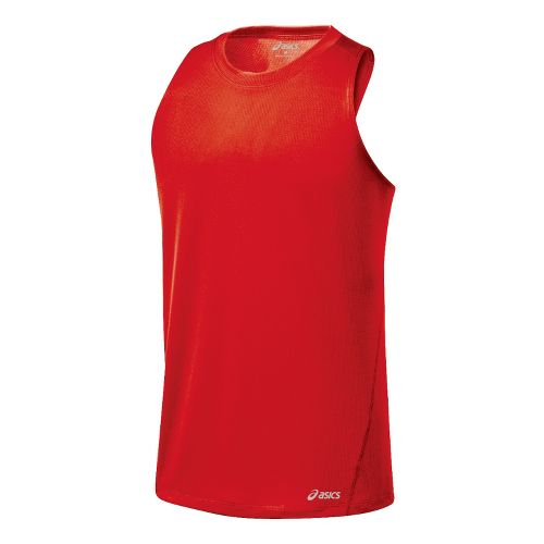 Mens ASICS Core Singlets Technical Tops - Red Pepper S