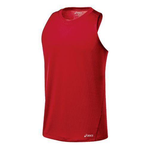 Mens ASICS Core Singlets Technical Tops - Sport Red XL