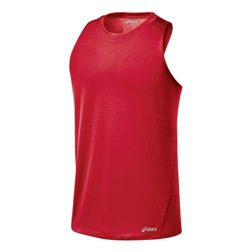 Mens ASICS Core Singlets Technical Tops - True Red XL