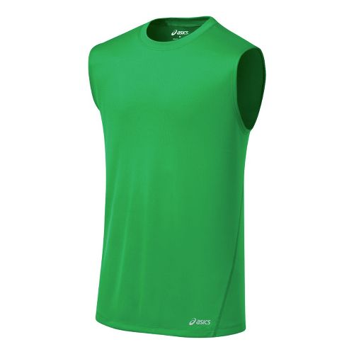 Mens ASICS Core Tanks Technical Tops - Go Green S