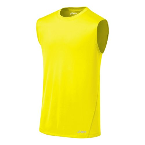 Mens ASICS Core Tanks Technical Tops - Neon XL