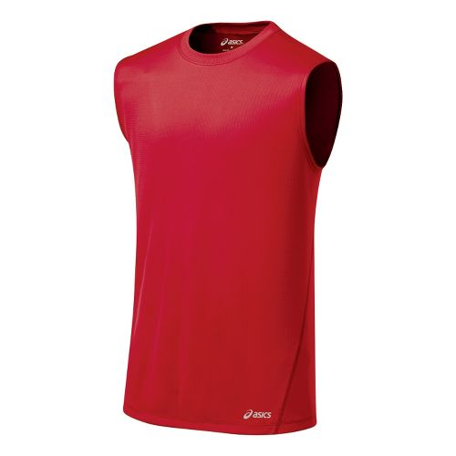 Mens ASICS Core Tanks Technical Tops - Sport Red S