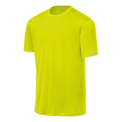 Mens ASICS Core Short Sleeve Technical Tops - Electric Lime M