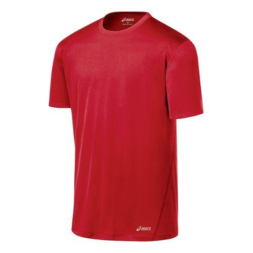 Mens ASICS Core Short Sleeve Technical Tops - Sport Red XXL