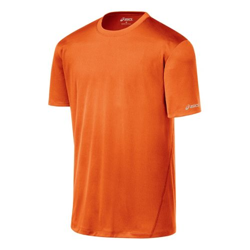 Mens ASICS Core Short Sleeve Technical Tops - Zest XXL