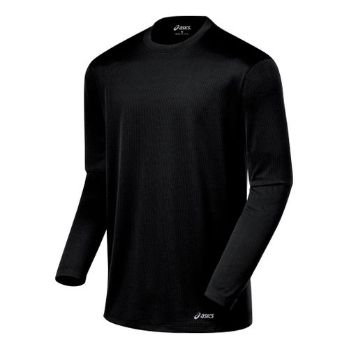 Mens ASICS Core Long Sleeve No Zip Technical Tops - Black XXL