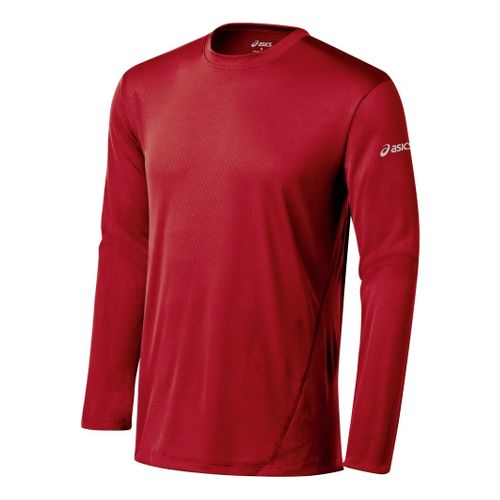 Mens ASICS Core Long Sleeve No Zip Technical Tops - Brick S