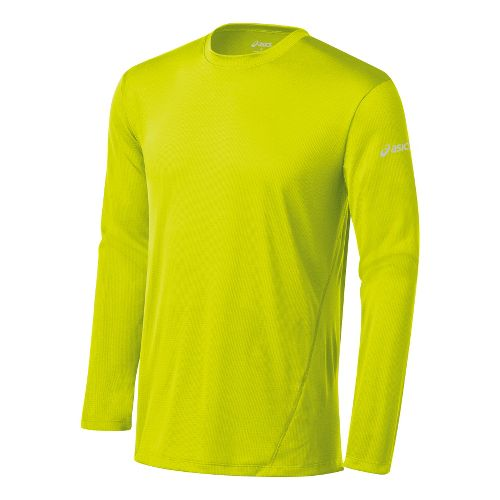 Mens ASICS Core Long Sleeve No Zip Technical Tops - Electric Lime M