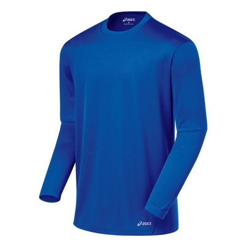 Mens ASICS Core Long Sleeve No Zip Technical Tops - Fresh Blue M