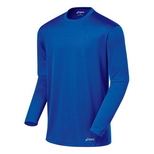 Mens ASICS Core Long Sleeve No Zip Technical Tops - Fresh Blue XL