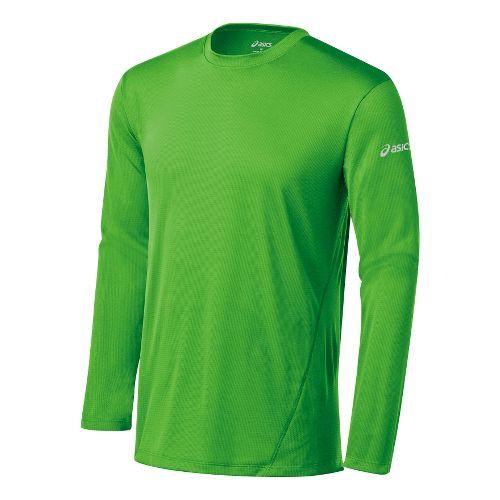 Mens ASICS Core Long Sleeve No Zip Technical Tops - Green Gecko XXL
