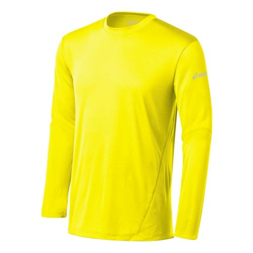 Mens ASICS Core Long Sleeve No Zip Technical Tops - Neon S