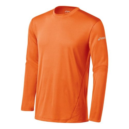 Mens ASICS Core Long Sleeve No Zip Technical Tops - Orange Burst L