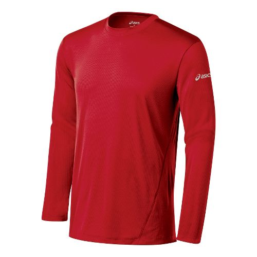 Mens ASICS Core Long Sleeve No Zip Technical Tops - Sport Red L