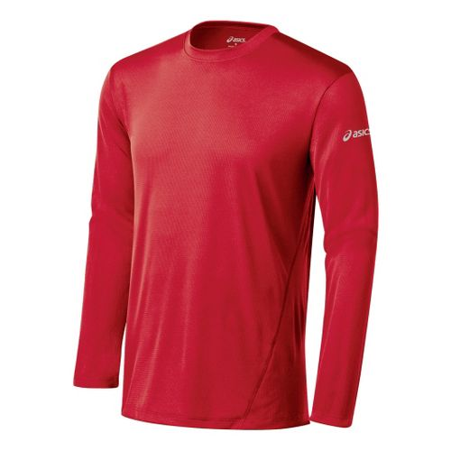 Mens ASICS Core Long Sleeve No Zip Technical Tops - True Red M