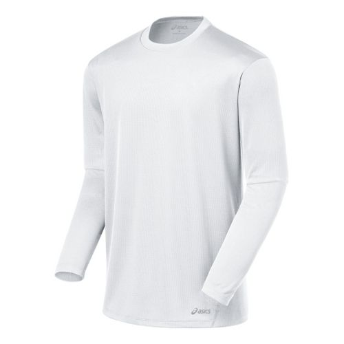 Mens ASICS Core Long Sleeve No Zip Technical Tops - White L