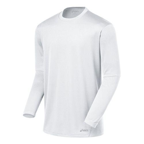 Mens ASICS Core Long Sleeve No Zip Technical Tops - White M