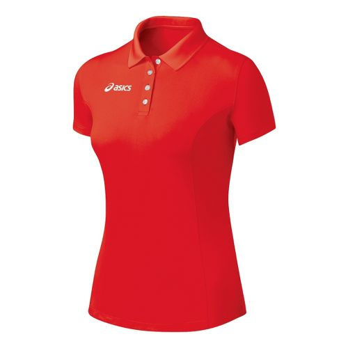 Womens ASICS Official Polo Short Sleeve Technical Tops - Red XL