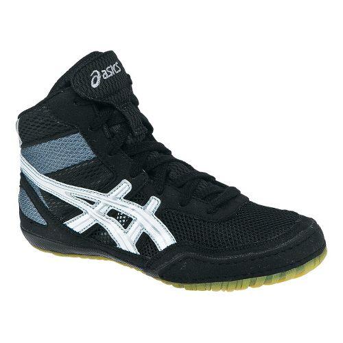 Kids ASICS GEL-Matflex 3 GS Wrestling Shoe - Black/White 5.5