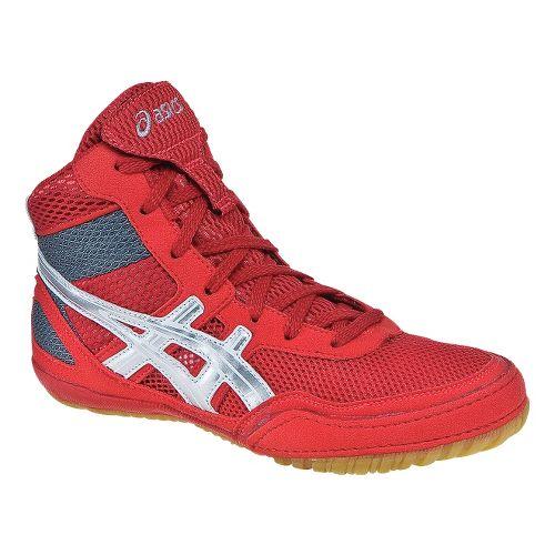 Kids ASICS GEL-Matflex 3 GS Wrestling Shoe - Red/Silver 2.5