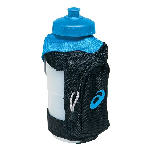 ASICS Long Haul Handheld Water Bottle 20 ounces Hydration - Black/Pacific Blue